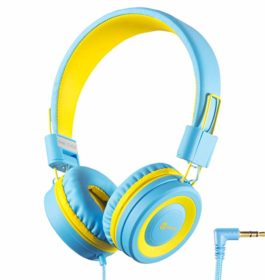 iClever Kids Headphones Girls Toddler – Wired Headphones for Kids on Ear, Adjustable Headband Tangle-Free Cord, Foldable, Child's Headphones for iPad Tablet Airplane School – Blue/Yellow