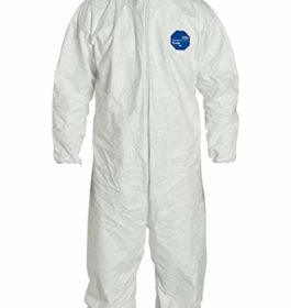 DuPont Tyvek 400 TY122S Disposable Protective Coverall with Elastic Cuffs, Attached Hood and Boots, White, Large (Pack of 25)