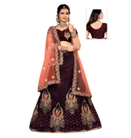 Dark Marron Lehenga Choli For Wedding Wear Latest Design In 2020