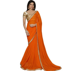 Festive Orange Embroidered Saree With Blouse
